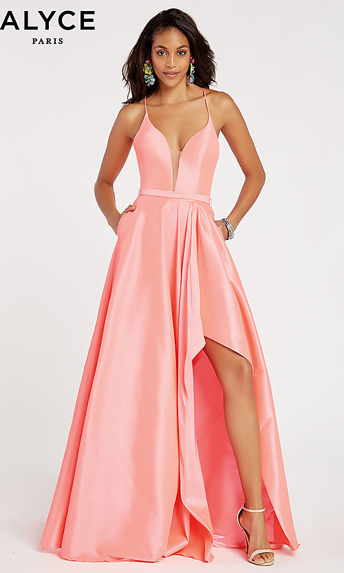 Image of long v-neck high-low prom dress by Alyce. Style: AL-60394 Front Image