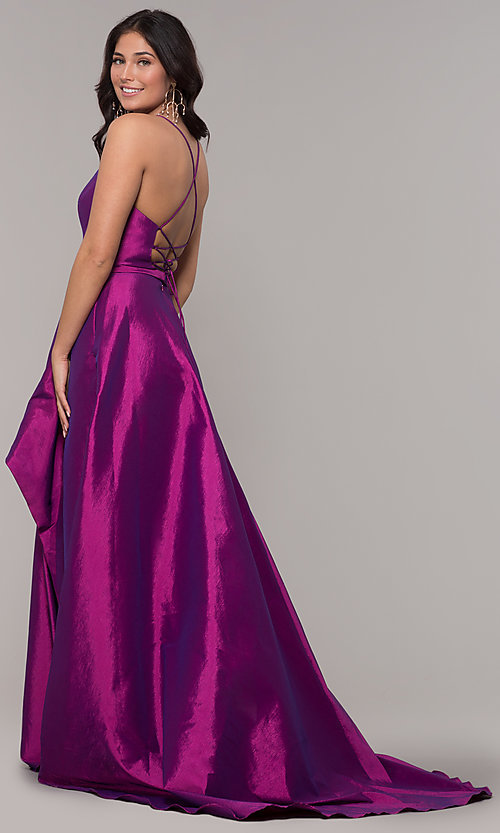 Image of long v-neck high-low prom dress by Alyce. Style: AL-60394 Back Image