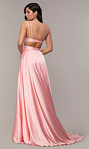 Image of long designer v-neck cut-out prom dress by Alyce. Style: AL-60453 Detail Image 4