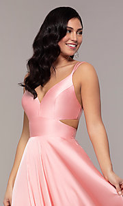 Image of long designer v-neck cut-out prom dress by Alyce. Style: AL-60453 Detail Image 5