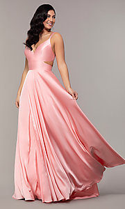 Image of long designer v-neck cut-out prom dress by Alyce. Style: AL-60453 Detail Image 7