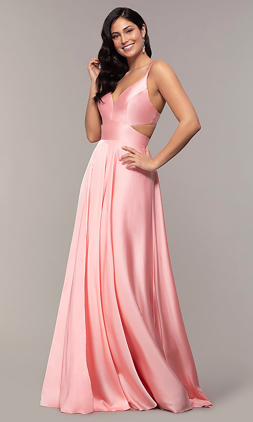 Image of long designer v-neck cut-out prom dress by Alyce. Style: AL-60453 Detail Image 3