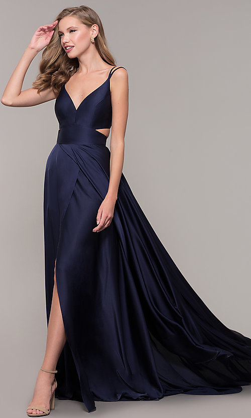 Image of long designer v-neck cut-out prom dress by Alyce. Style: AL-60453 Back Image