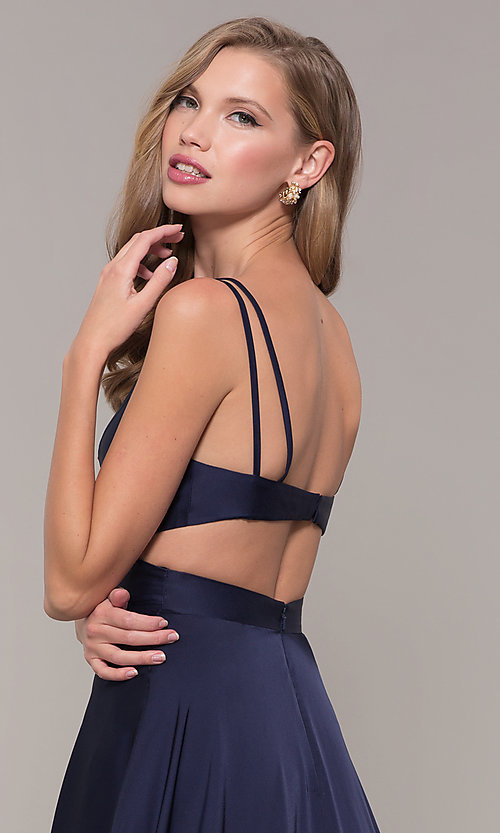Image of long designer v-neck cut-out prom dress by Alyce. Style: AL-60453 Detail Image 1