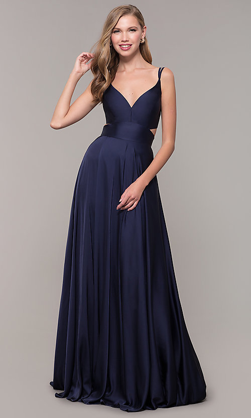 Image of long designer v-neck cut-out prom dress by Alyce. Style: AL-60453 Detail Image 2