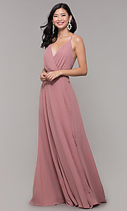 Image of long formal v-neck wrap-style prom dress. Style: AL-60456 Front Image