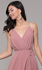 Image of long formal v-neck wrap-style prom dress. Style: AL-60456 Detail Image 1
