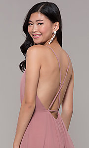 Image of long formal v-neck wrap-style prom dress. Style: AL-60456 Detail Image 2