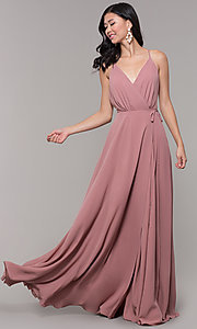 Image of long formal v-neck wrap-style prom dress. Style: AL-60456 Detail Image 3