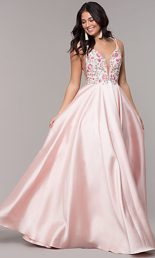 Embroidered-Bodice Long A-Line V-Neck Prom Dress