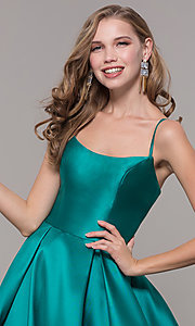 Image of long prom ball gown with pockets. Style: NM-19-107 Detail Image 3