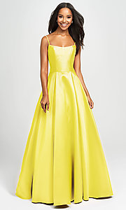 Image of long prom ball gown with pockets. Style: NM-19-107 Detail Image 7