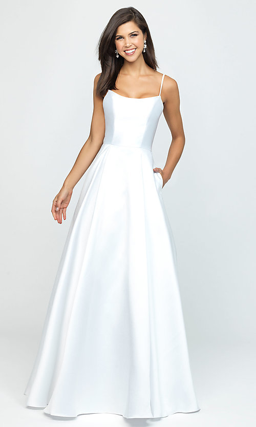 Image of long prom ball gown with pockets. Style: NM-19-107 Front Image