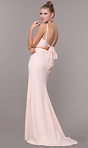 Image of long open-back two-piece prom dress with back bow. Style: NM-19-123 Detail Image 4