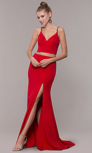 Image of long open-back two-piece prom dress with back bow. Style: NM-19-123 Front Image