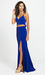 Image of long open-back two-piece prom dress with back bow. Style: NM-19-123 Detail Image 7