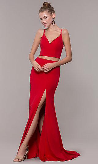 Long Open-Back Two-Piece Prom Dress with Back Bow
