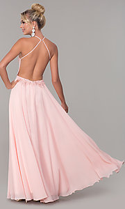 Image of high-neck long blush pink prom dress by PromGirl. Style: DQ-PL-2692 Back Image