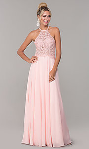 Image of high-neck long blush pink prom dress by PromGirl. Style: DQ-PL-2692 Detail Image 3