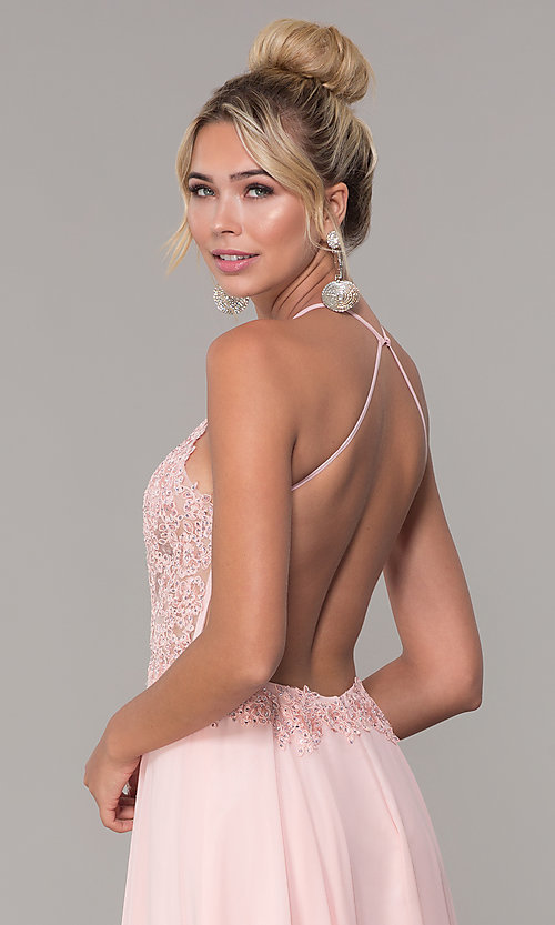 Image of high-neck long blush pink prom dress by PromGirl. Style: DQ-PL-2692 Detail Image 2