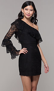 Image of one-shoulder sleeved short lace black party dress. Style: FAN-EKD2095 Front Image