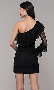 Image of one-shoulder sleeved short lace black party dress. Style: FAN-EKD2095 Back Image