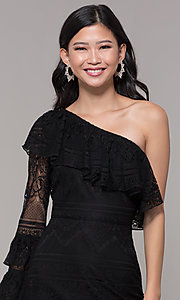 Image of one-shoulder sleeved short lace black party dress. Style: FAN-EKD2095 Detail Image 1