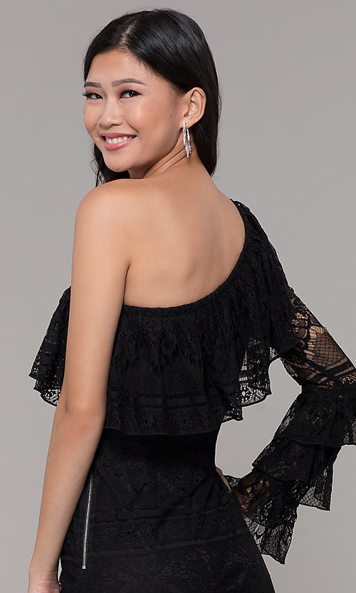 Image of one-shoulder sleeved short lace black party dress. Style: FAN-EKD2095 Detail Image 2