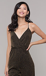 Image of gold v-neck holiday jumpsuit. Style: RO-R68726 Detail Image 1