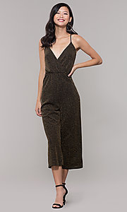 Image of gold v-neck holiday jumpsuit. Style: RO-R68726 Detail Image 3
