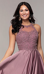 Image of long a-line satin prom dress with pockets. Style: DQ-2625 Detail Image 1