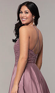 Image of long a-line satin prom dress with pockets. Style: DQ-2625 Detail Image 2