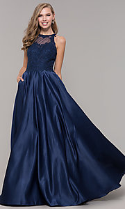 Image of long a-line satin prom dress with pockets. Style: DQ-2625 Detail Image 4