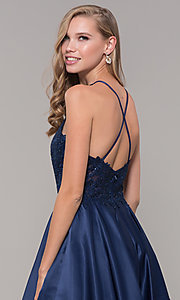 Image of long a-line satin prom dress with pockets. Style: DQ-2625 Detail Image 7