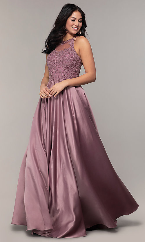 Image of long a-line satin prom dress with pockets. Style: DQ-2625 Front Image