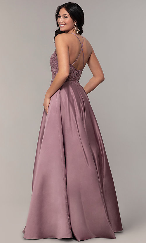 Image of long a-line satin prom dress with pockets. Style: DQ-2625 Back Image