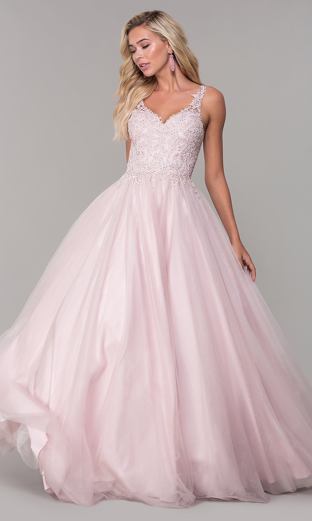 Long Dusty Pink Tulle V,Neck Prom Dress