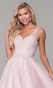 Image of long dusty pink tulle v-neck prom dress. Style: DQ-2626 Detail Image 1