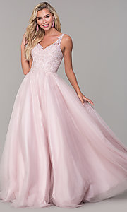 Image of long dusty pink tulle v-neck prom dress. Style: DQ-2626 Detail Image 3