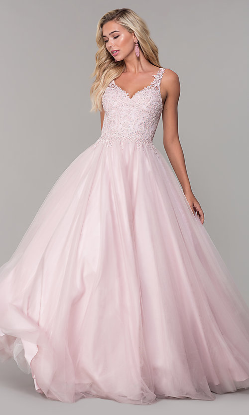 Image of long dusty pink tulle v-neck prom dress. Style: DQ-2626 Front Image