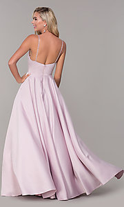 Image of long a-line dusty pink prom dress by PromGirl. Style: DQ-PL-2640 Back Image