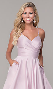 Image of long a-line dusty pink prom dress by PromGirl. Style: DQ-PL-2640 Detail Image 1