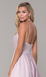 Image of long a-line dusty pink prom dress by PromGirl. Style: DQ-PL-2640 Detail Image 2