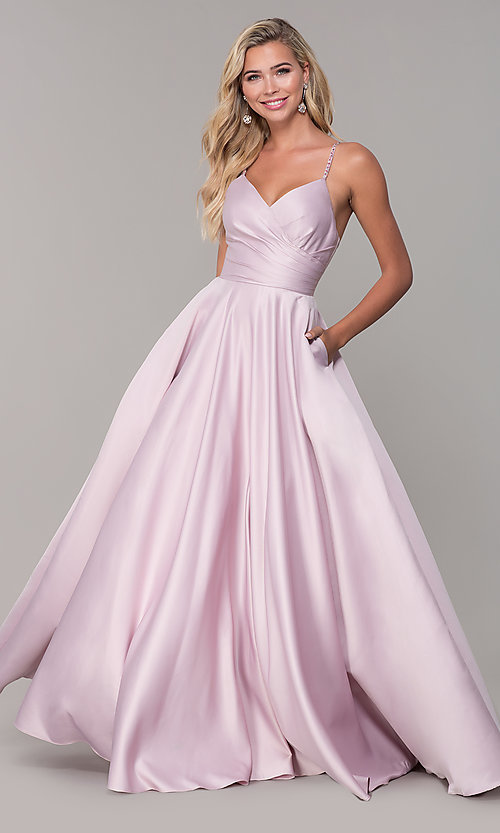 Image of long a-line dusty pink prom dress by PromGirl. Style: DQ-PL-2640 Front Image