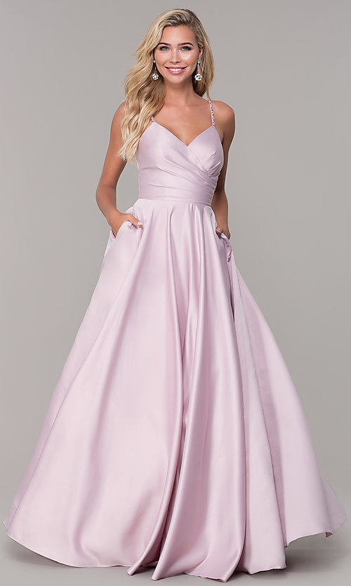Image of long a-line dusty pink prom dress by PromGirl. Style: DQ-PL-2640 Detail Image 3