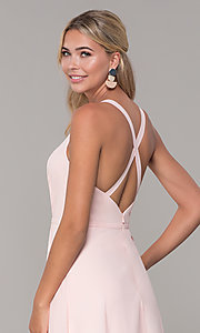 Image of long sleeveless prom dress with pleating. Style: DQ-2541 Detail Image 4