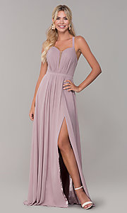 Image of long sleeveless prom dress with pleating. Style: DQ-2541 Front Image