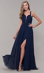 Image of long sleeveless prom dress with pleating. Style: DQ-2541 Detail Image 6