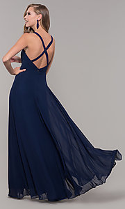 Image of long sleeveless prom dress with pleating. Style: DQ-2541 Detail Image 7