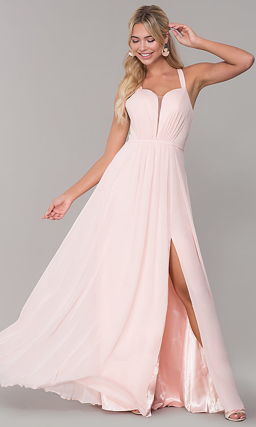 Image of long sleeveless prom dress with pleating. Style: DQ-2541 Detail Image 2